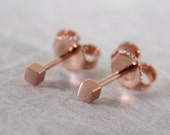 2mm Teeny Tiny Square Stud Earrings Brushed 14k Rose Gold by SARANTOS