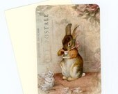 Rabbit Note Cards , Blank Flat Cards , Tea Time Cards , Cottage Style Cards , Bunny Cards , Beatrix Potter , Shabby and Chic