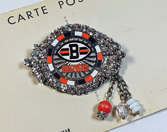 Cleveland Browns rhinestone brooch pin football
