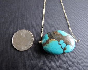 Huge Turquoise Pendant on Gold Chain, Delicate Gold Chain with Pendant, Turquoise Jewelry