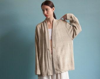 woven plaid cardigan jacket / lightweight cotton jacket / kimono style jacket / s / m / 1053o / B19