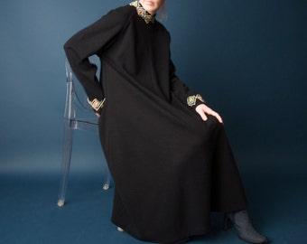 big dipper black knit jeweled collar tent dress / trapeze swing dress / LBD little black dress / m / 1724d