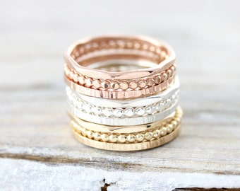 Set of 3 textured stacking rings - sterling silver or gold filled
