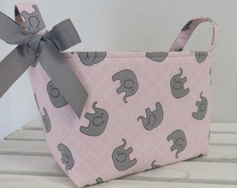 Fabric Organizer Bin Toy Storage Container Basket -  Sweet Gray Elephants on Light Pink and White