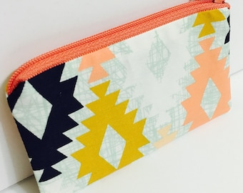 Zippered Coin Purse Wallet - Fabric Business Card Holder - Agave Field - April Rhodes Fabric - Aztec - Tribal - Navajo - Southwestern