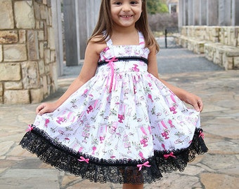 Girls Birthday flower girl white pink black lace cupcake Custom shirred Twirl Dress Size 12 months to 12 yrs - Afternoon Tea in Paris