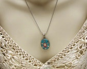 Tibetan Pendant Sterling Silver Turquoise Coral Pendant Necklace