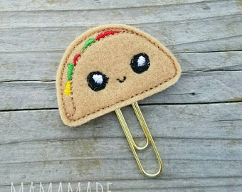 Taco Feltie - Planner Clip, Magnet or Hairclip (bookmark, planner or journal clip)