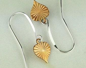 Petite Brass Dangle Heart Earrings with Sterling Silver Earwires