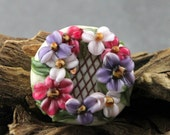 Lampwork Glass Floral Lattice Focal Pink Purple Ivory