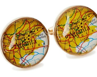Atlanta Map Cufflinks Solid Golden Bronze Heirloom Cast One Piece Antique Georgia Atlas Groom  Dad or Fiance Gift Wedding