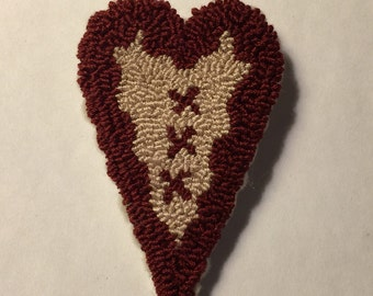 Primitive Valentine Needle Punch Heart Pin Red X's