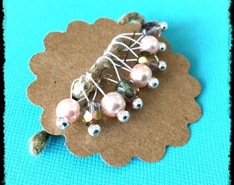 Snag Free Stitch Markers Small Set of 8 - Pink Glass Pearls and Brown Czech Glass -- K32-- Up to size US 8 (5.0mm) Knitting Needles