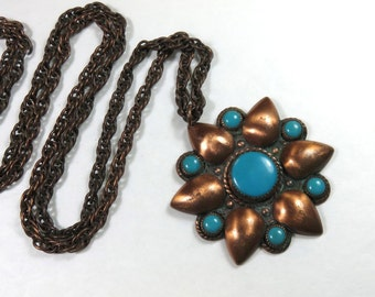 SJK Vintage -- Old Bell Trading Post Copper and Turquoise Daisy Flower Pendant with Copper Chain (1960's)
