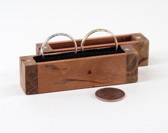 Rustic Cherry, Quarter Sawn Knotty Oak Wood Wedding Ring Box, Engagement Ring Box, Proposal Ring Box, Ring Bearer Pillow