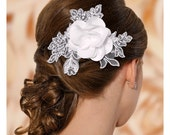 Jessica Satin Flower and lace Bridal Hair Comb, Flower Wedding Headpiece with Crystals