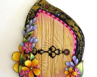 Flower Garden Fairy Door with a Heart Locket Door Knob