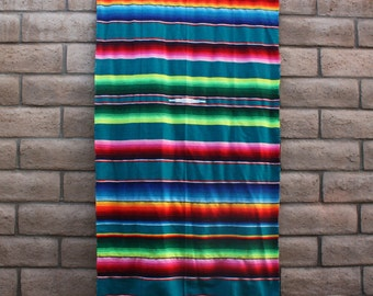 Turquoise Brights Mexican Blanket