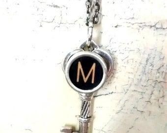 Letter M charm pendant typewriter key vintage necklace
