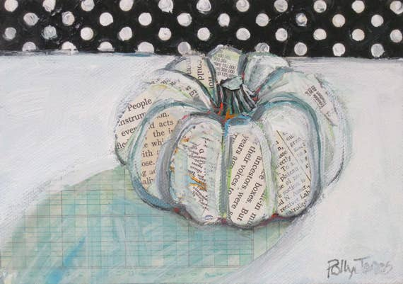 Ghost Pumpkin with Polka Dots original still life painting by Polly Jones