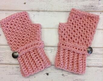 Crocheted Fingerless Gloves Mittens - Fingerless Gloves in Pink - Pink Gloves Pink Mittens Womens Accessories