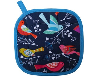 Navy Birds Pot Holder