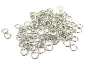 Rhodium Plated 6mm Round Jump Rings - 12 grams (approximately 100x) (19 gauge) K854-D