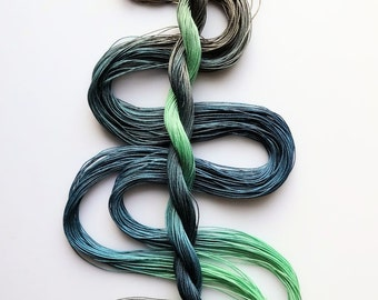 "Size 30 ""Pond"" hand dyed thread 6 cord cordonnet tatting crochet cotton"