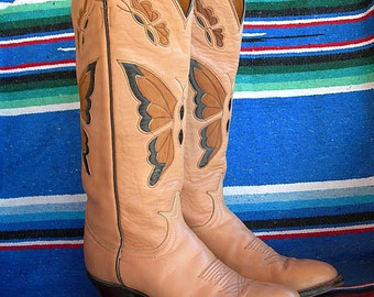 VINTAGE Tony Lama Ladies Boots BEIGE BUTTERFLY Black Label 1970s tall approx size 7 to 7-1/2 gently used Free Shipping