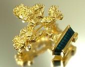 Vintage, estate 1980s gold plated & rhinestone / paste tree costume brooch / pin - jewelry jewellery