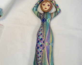 10 in. Metallic Goddess cloth art doll form w/face cab You finish her Bead Decorate