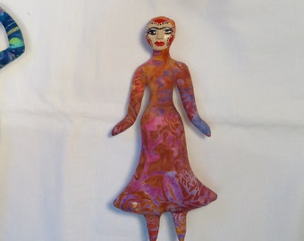 Sale FRIDA KAHLO batik cloth art doll form w/face cab 9 in. tall You finish her Bead Decorate