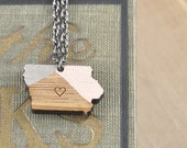 CUSTOM COLOR / Iowa State Necklace / Heart /  Modern Jewelry