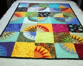 """Handmade Lap Quilt, New York Beauty Patchwork SUNSHINE 56"""" x 72"""""""" multicolor with Moda Print Border Patchwork Quilt for sale"""