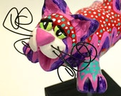 Cat Sculpture with Stand Polymer Clay Flying Painted Whimsically Made to Order CTP0001