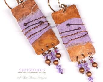 Hammered Earrings with Sari Silk, Gypsy, Boho E934