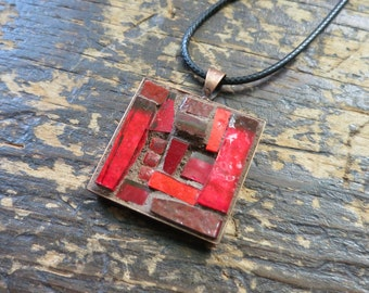 Dark Red Mosaic Pendant with Copper Bezel