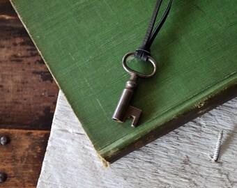 Vintage Skeleton Key Necklace - Mens Key Necklace - Womens Key Necklace - Rustic Key - Choose Your Cord Color