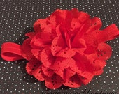 Baby Headband, Infant Headband, Newborn Headband- Red, Holiday Flower Hair Clip and Matching Elastic Headband- You Choose The Size