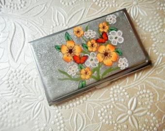 Business Card Case/Holder, Polymer Clay Enhanced