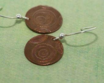 SALE - Etched Copper Earrings