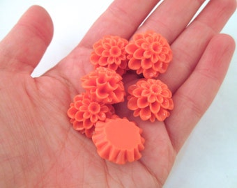 6 burnt orange 21mm chrysanthemum cabochons