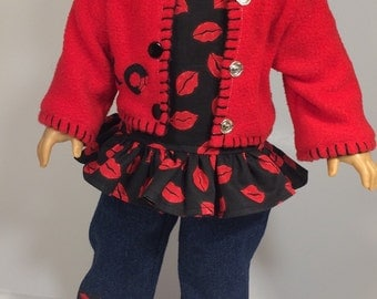 American Girl Doll Clothes - 3 pc. Jacket -Shirt - Jeans - Valentines