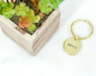 HOME or CUSTOM Word Brass Keychain Hand Stamped - SALE