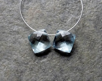 AAA Swiss Blue Topaz Faceted Diamond Briolettes 7mm - Matched Pair