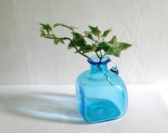 Vintage Blue Art Glass Jug,Bottle,Vase Handmade