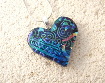 Blue Rainbow Heart, Dichroic Jewelry, Silver Necklace, Black Heart Pendant, Heart Jewelry, Fused Glass Jewelry, Contemporary, 041916p105