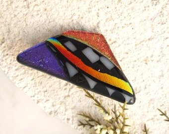 Dichroic Brooch, Pin, Dichroic Jewelry, Dichroic Glass Jewelry, Fused Glass Jewelry, Blue Pin, Purple Red Brooch Glass Jewelry, 041916pb100