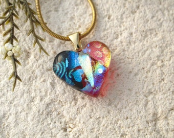 Petite Red Heart, Dichroic Heart, Rainbow Heart, Gold Necklace, Love Jewelry, Glass Jewelry, Fused Glass Jewelry, Red Necklace, 062816p100
