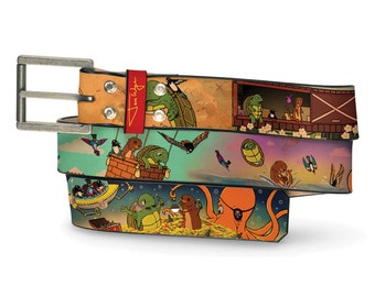 Animal Adventure Leather Belt, Creature Belt, Leather Belt Pet Journey Quest